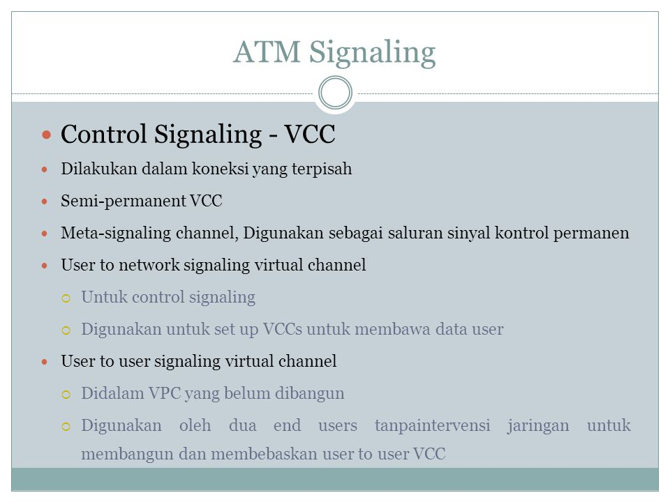 ATM Signaling Control Signaling - VCC