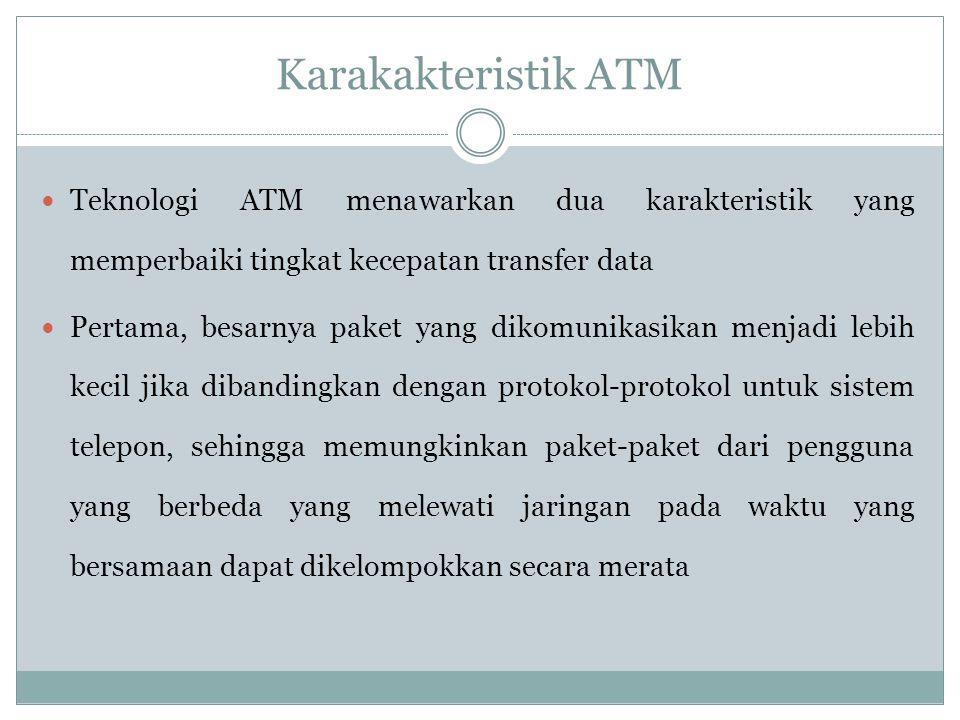 Karakakteristik ATM Teknologi ATM menawarkan dua karakteristik yang memperbaiki tingkat kecepatan transfer data.