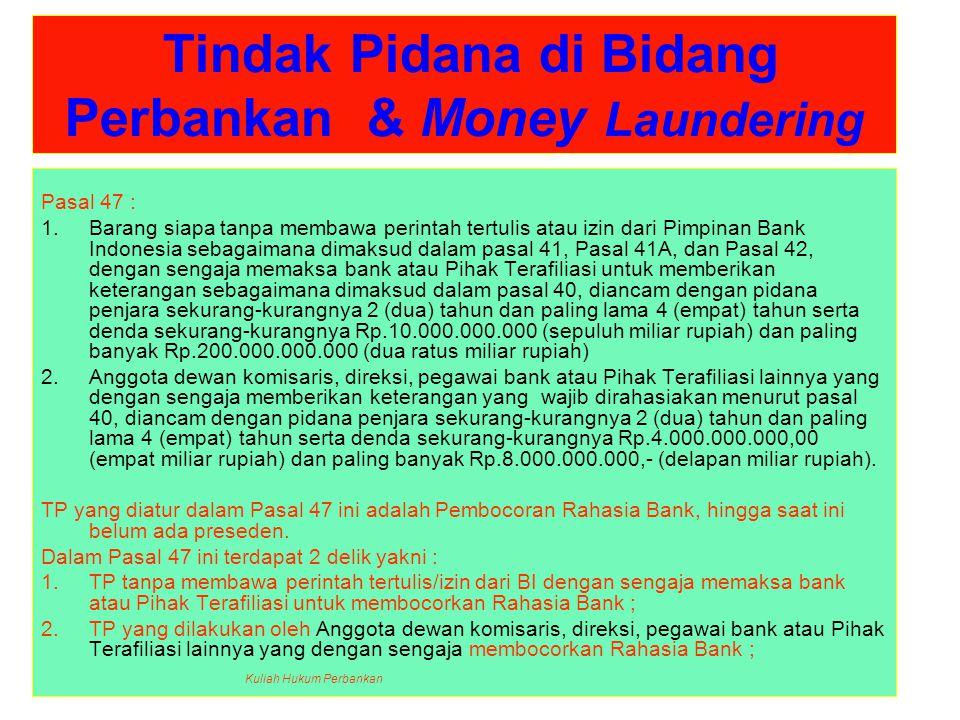Tindak Pidana di Bidang Perbankan & Money Laundering
