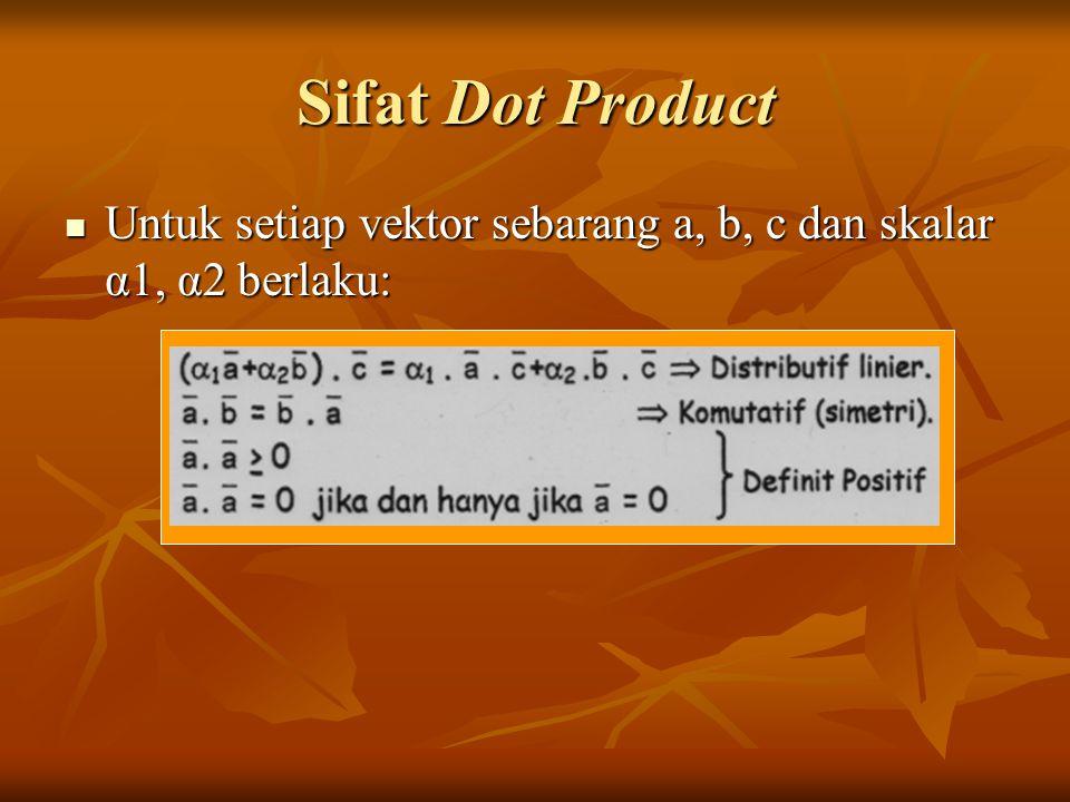 Sifat Dot Product Untuk setiap vektor sebarang a, b, c dan skalar α1, α2 berlaku: