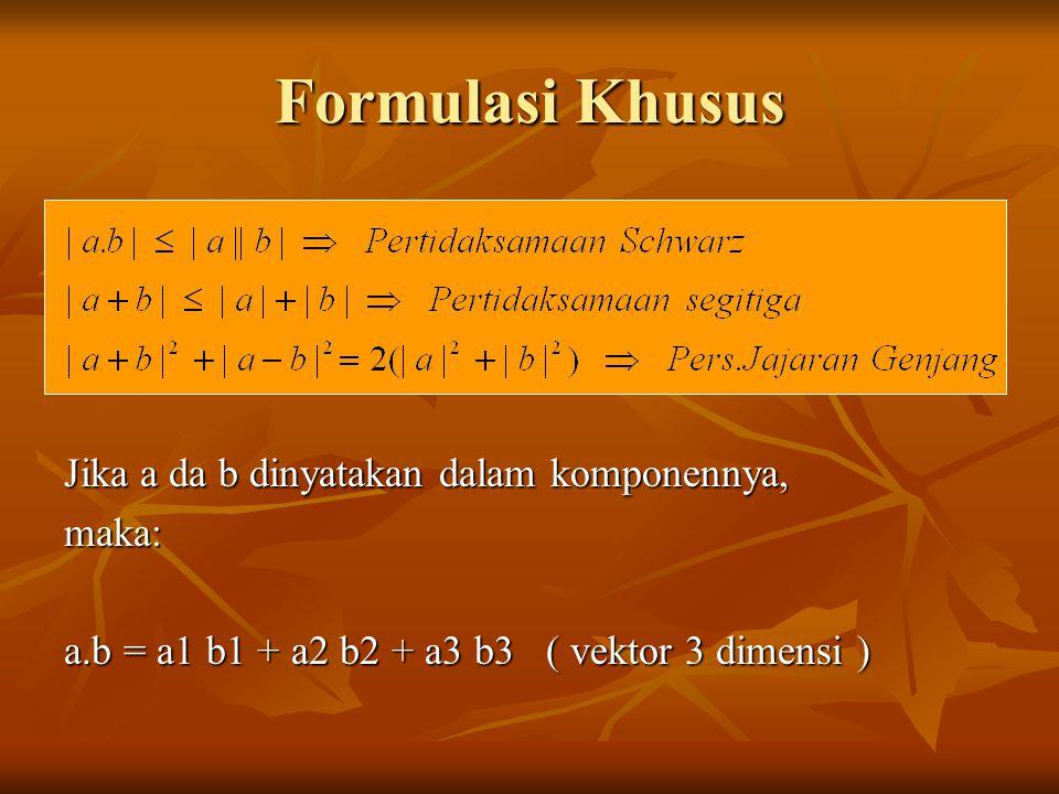 Formulasi Khusus Jika a da b dinyatakan dalam komponennya, maka: