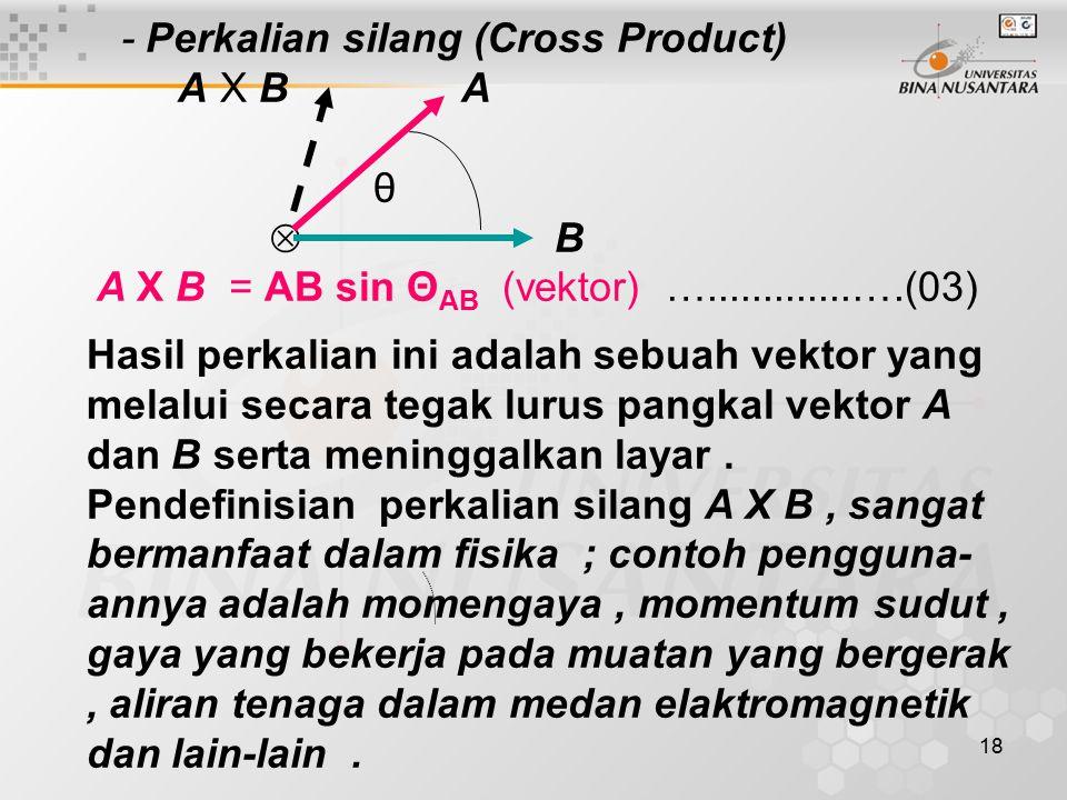 - Perkalian silang (Cross Product)