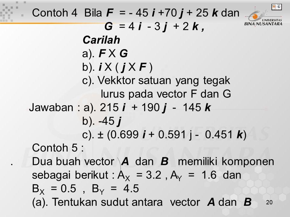 Contoh 4 Bila F = - 45 i +70 j + 25 k dan