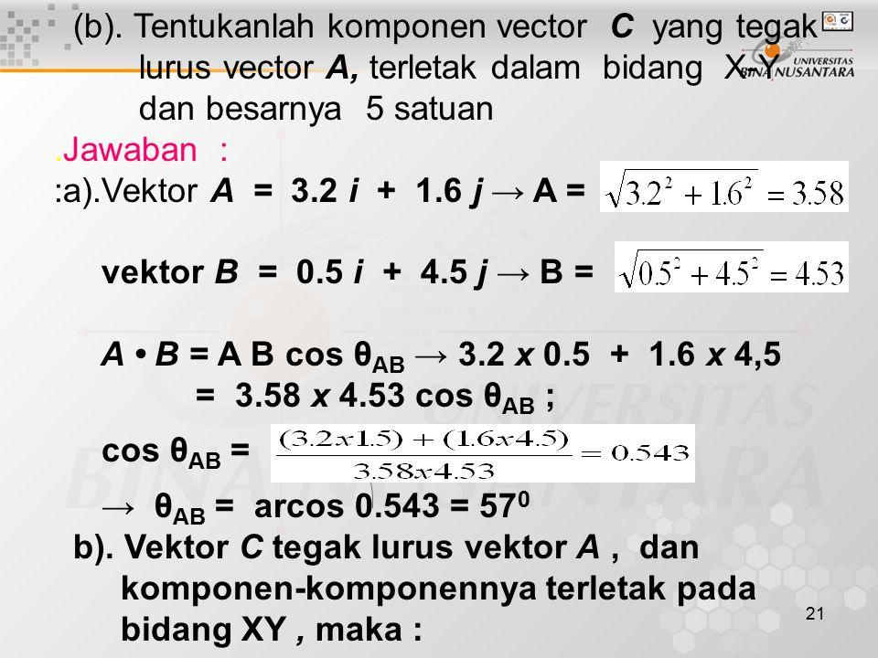 (b). Tentukanlah komponen vector C yang tegak