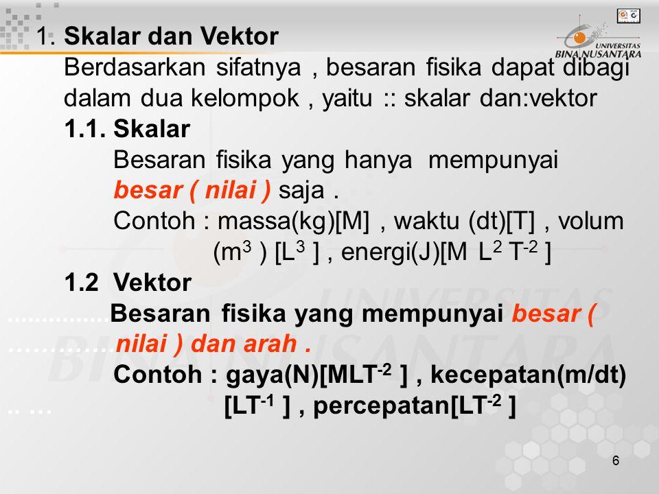 1. Skalar dan Vektor Berdasarkan sifatnya , besaran fisika dapat dibagi. dalam dua kelompok , yaitu :: skalar dan:vektor.
