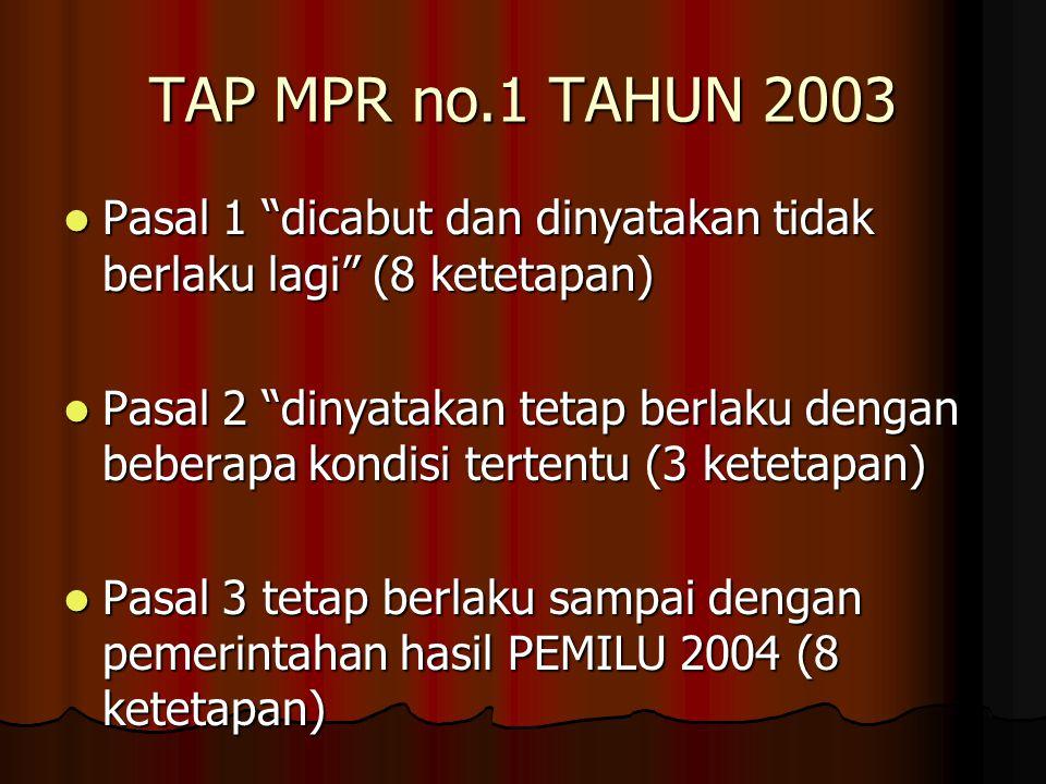 TAP MPR no.1 TAHUN 2003 Pasal 1 dicabut dan dinyatakan tidak berlaku lagi (8 ketetapan)