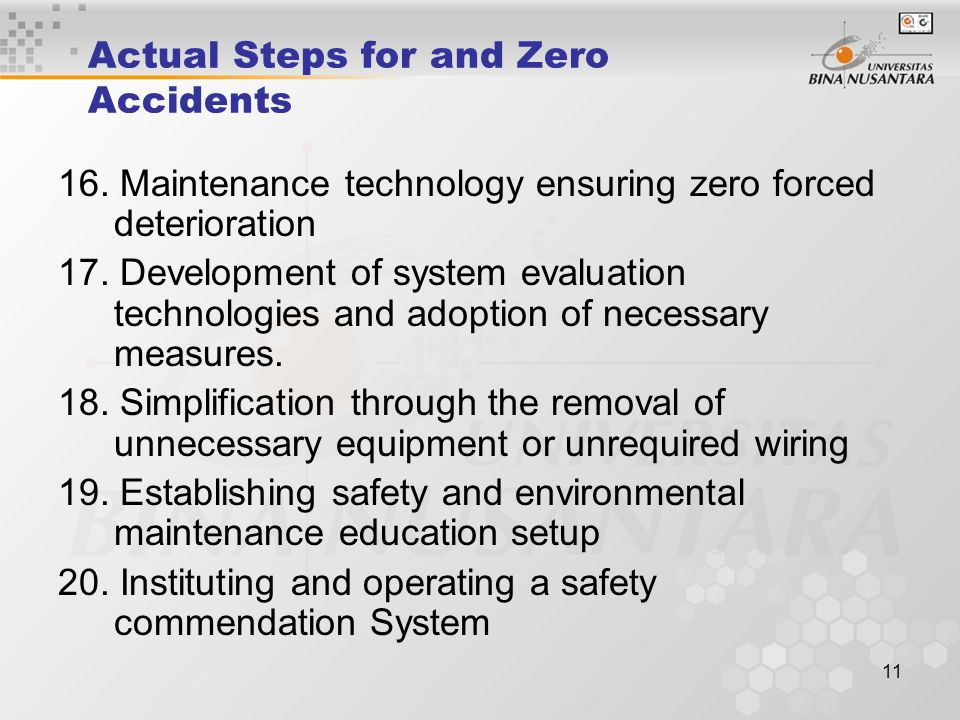 Actual Steps for and Zero Accidents