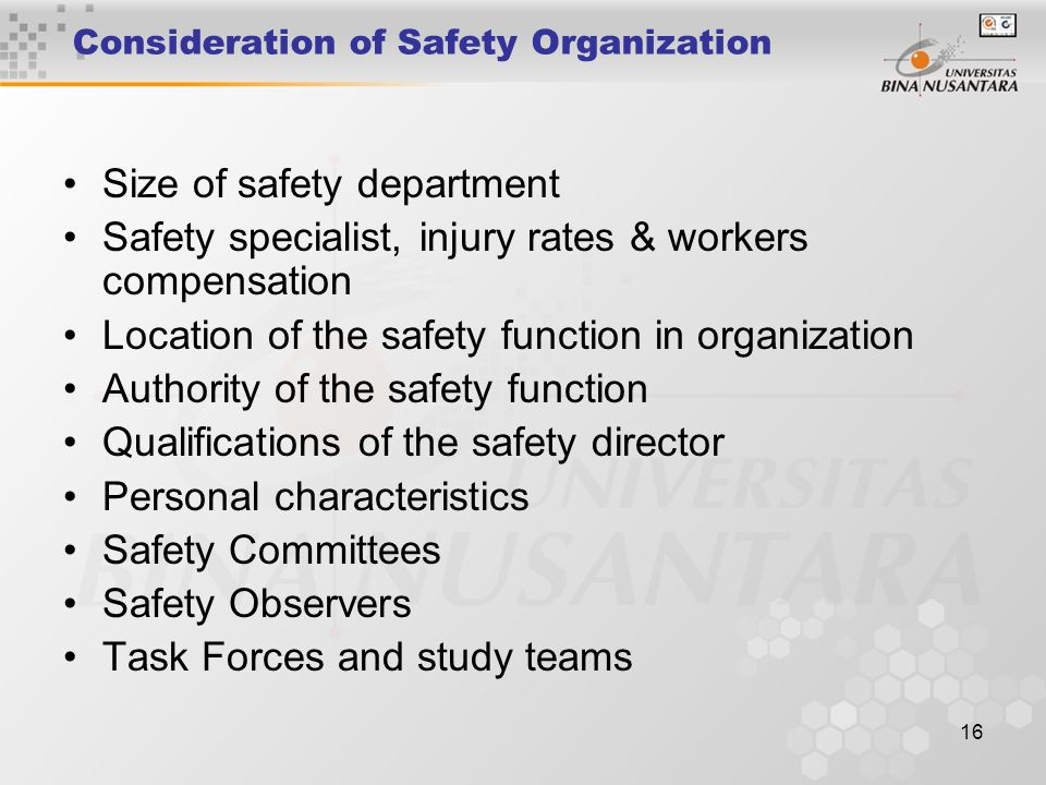 Consideration of Safety Organization