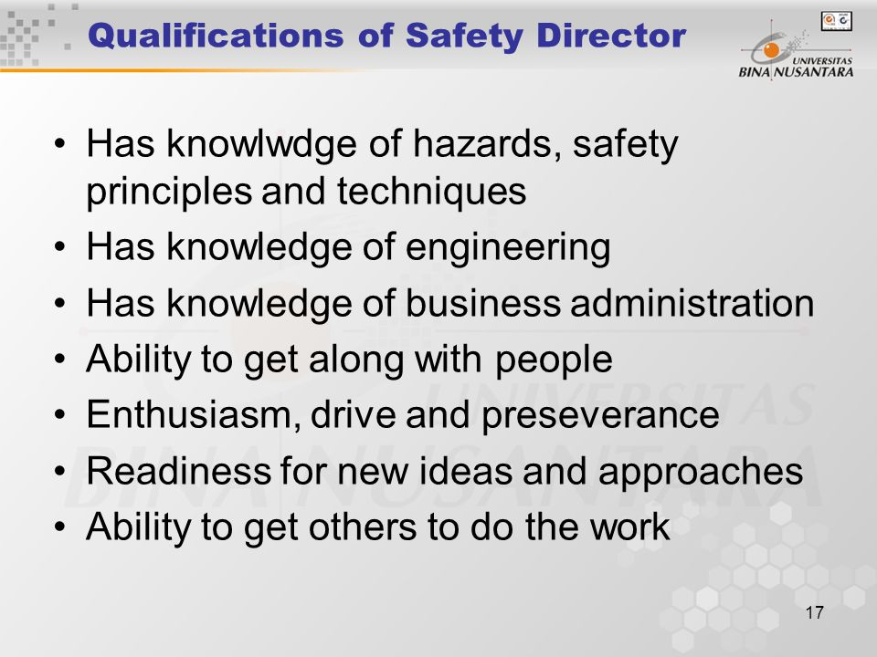 Qualifications of Safety Director