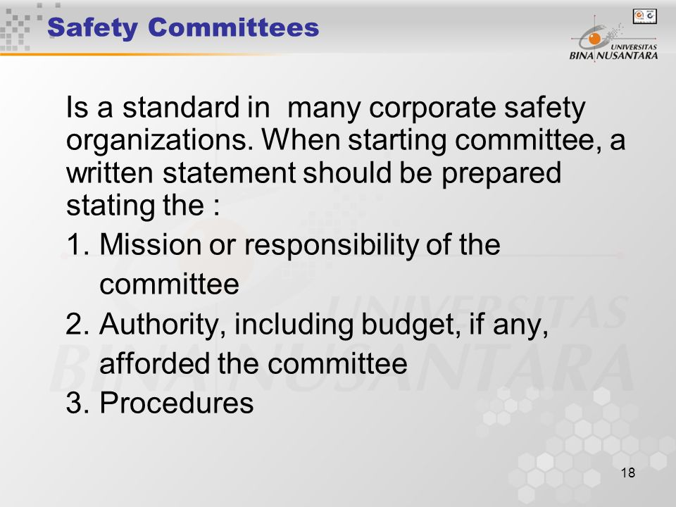 1. Mission or responsibility of the committee