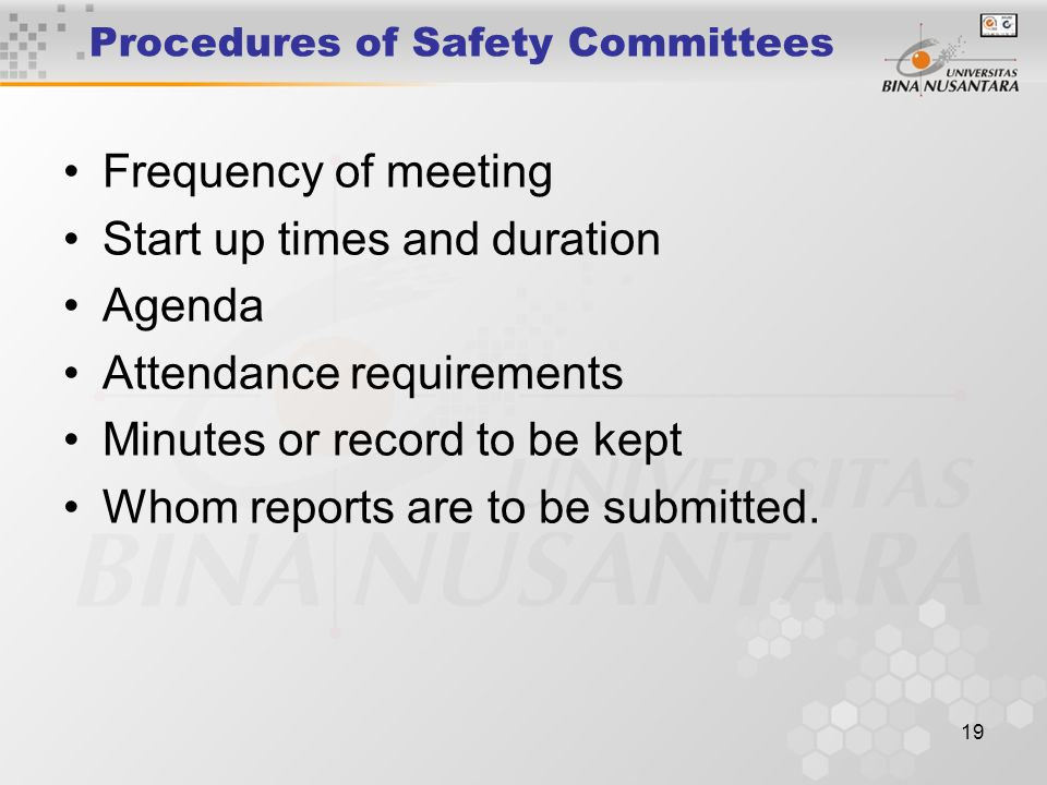 Procedures of Safety Committees