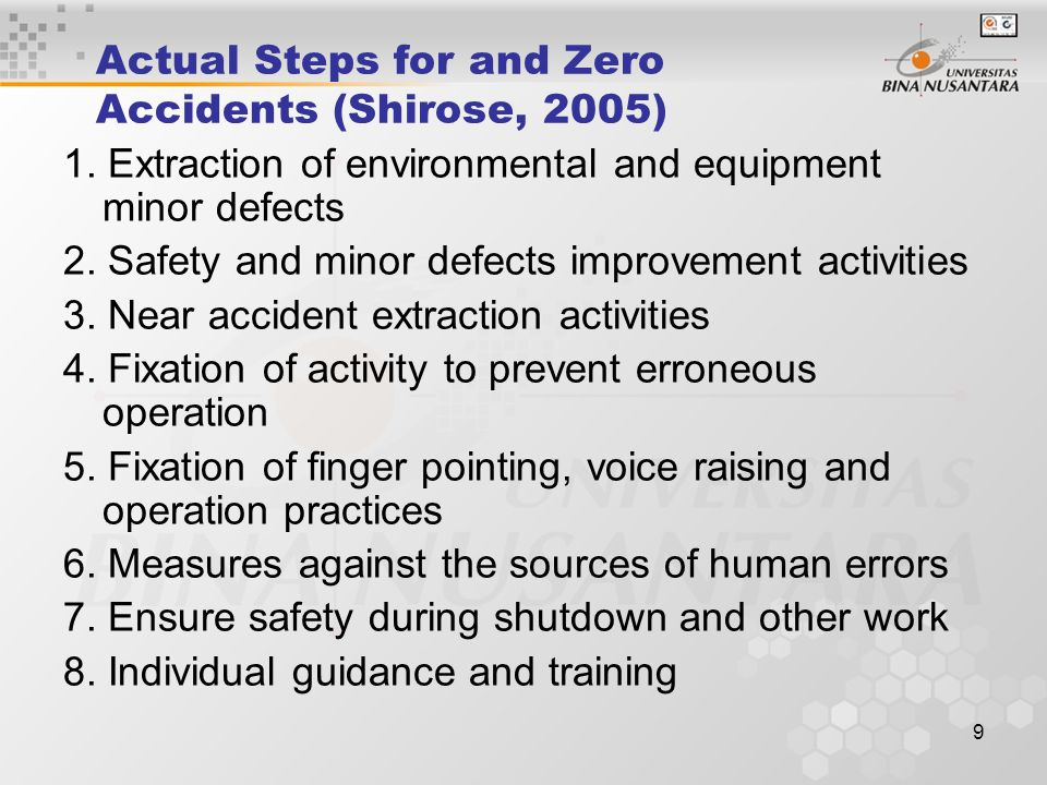Actual Steps for and Zero Accidents (Shirose, 2005)