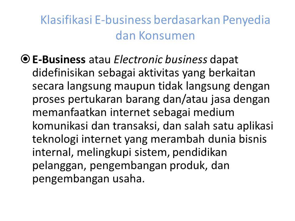 Klasifikasi E-business berdasarkan Penyedia dan Konsumen