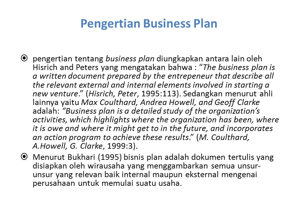 Pengertian Business Plan