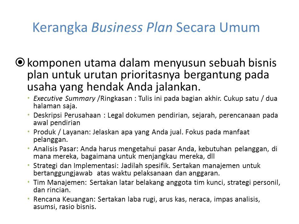 Kerangka Business Plan Secara Umum