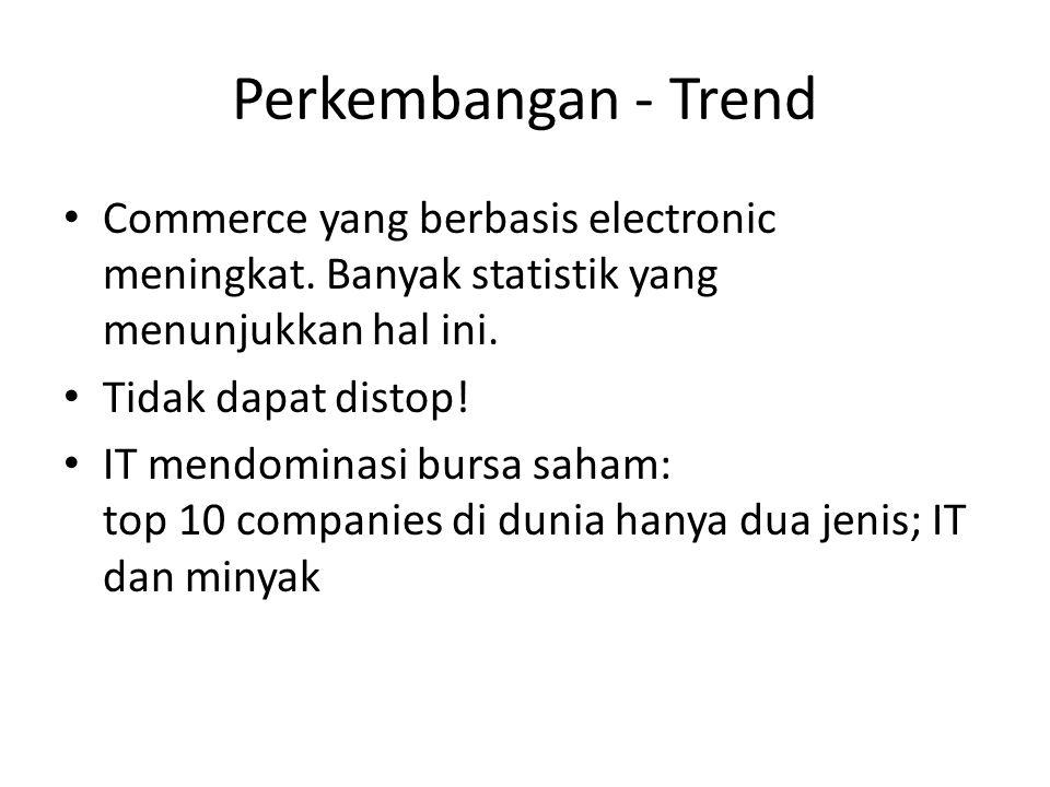 Perkembangan - Trend Commerce yang berbasis electronic meningkat. Banyak statistik yang menunjukkan hal ini.