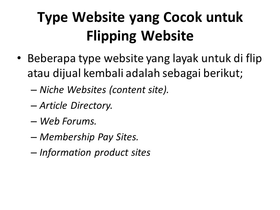 Type Website yang Cocok untuk Flipping Website