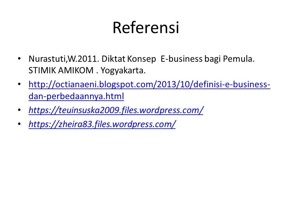 Referensi Nurastuti,W.2011. Diktat Konsep E-business bagi Pemula. STIMIK AMIKOM . Yogyakarta.