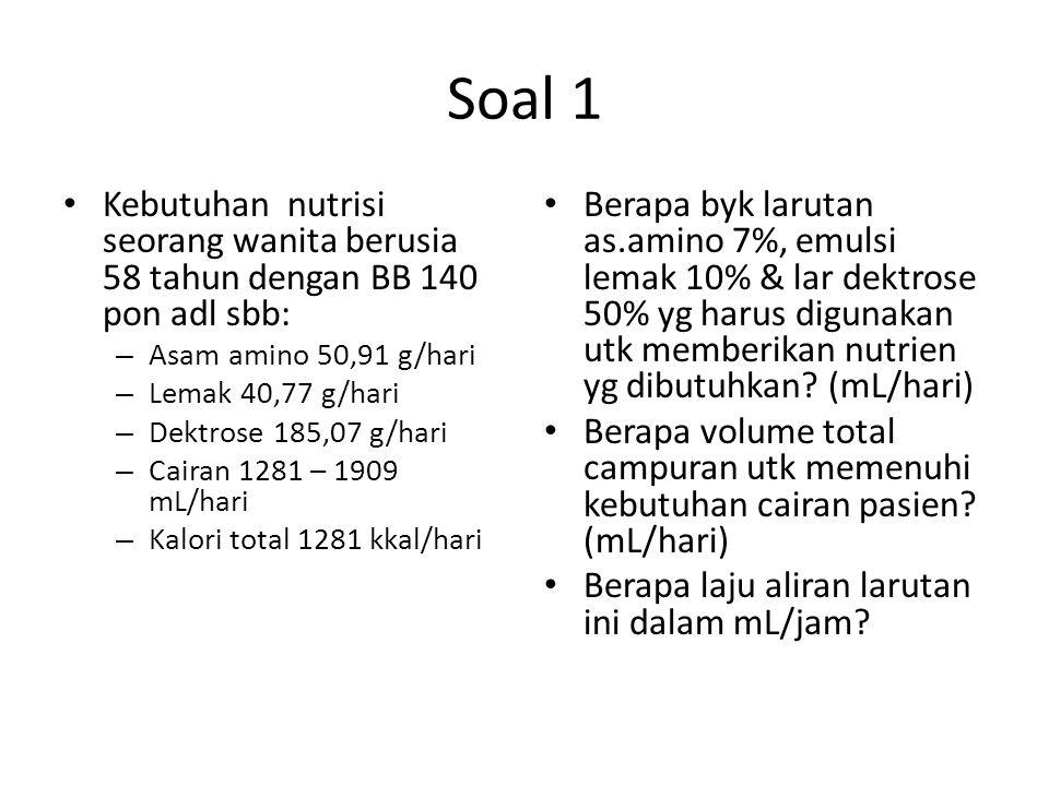 Soal 1 Kebutuhan nutrisi seorang wanita berusia 58 tahun dengan BB 140 pon adl sbb: Asam amino 50,91 g/hari.