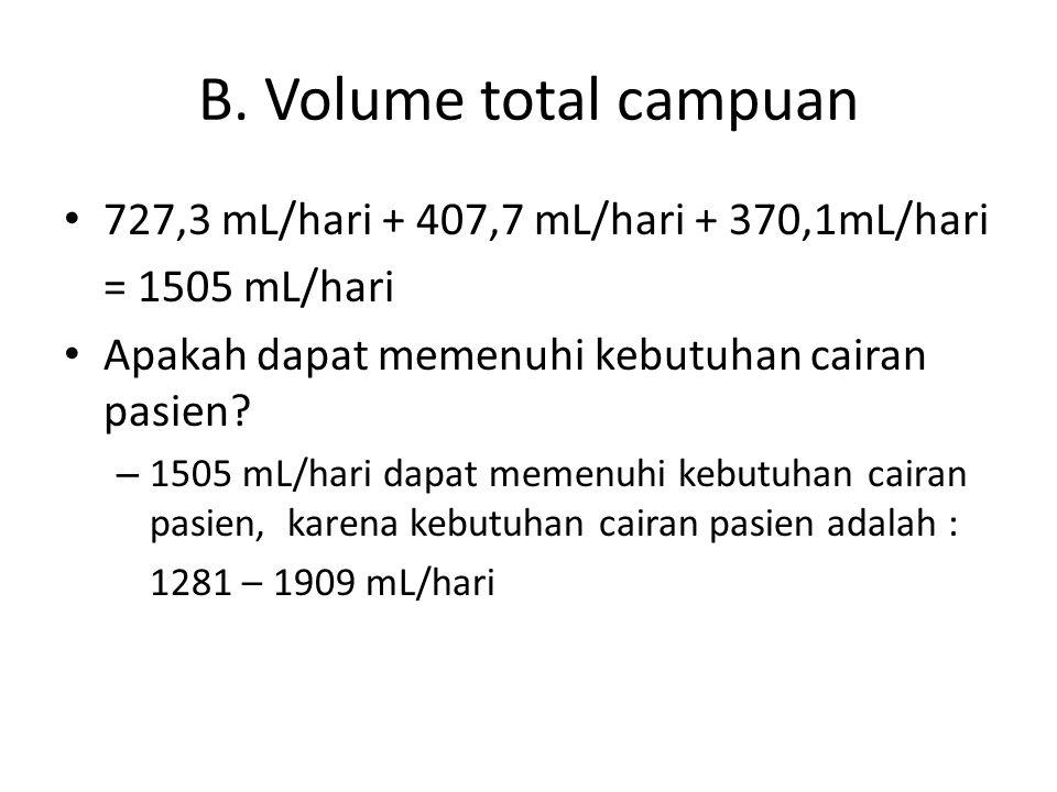 B. Volume total campuan 727,3 mL/hari + 407,7 mL/hari + 370,1mL/hari