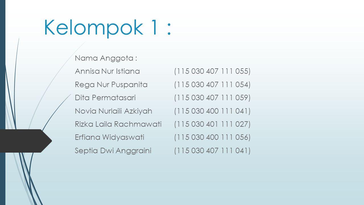 Kelompok 1 : Nama Anggota : Annisa Nur Istiana (115 030 407 111 055)