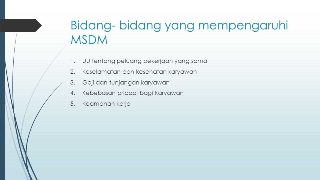 Bidang- bidang yang mempengaruhi MSDM