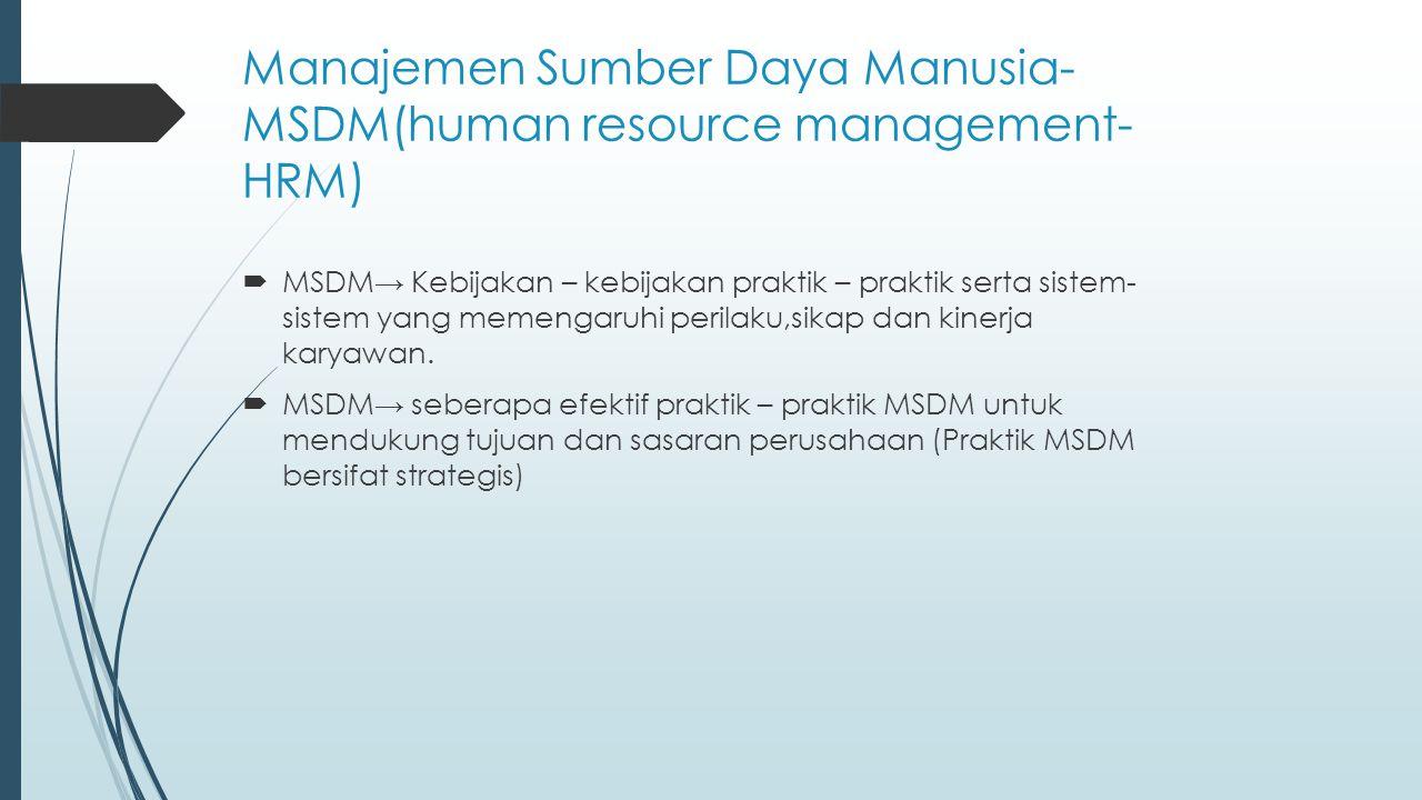 Manajemen Sumber Daya Manusia- MSDM(human resource management-HRM)