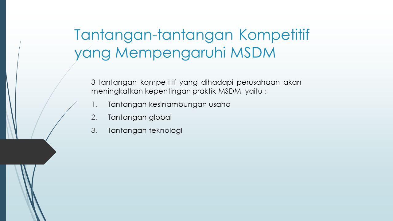 Tantangan-tantangan Kompetitif yang Mempengaruhi MSDM