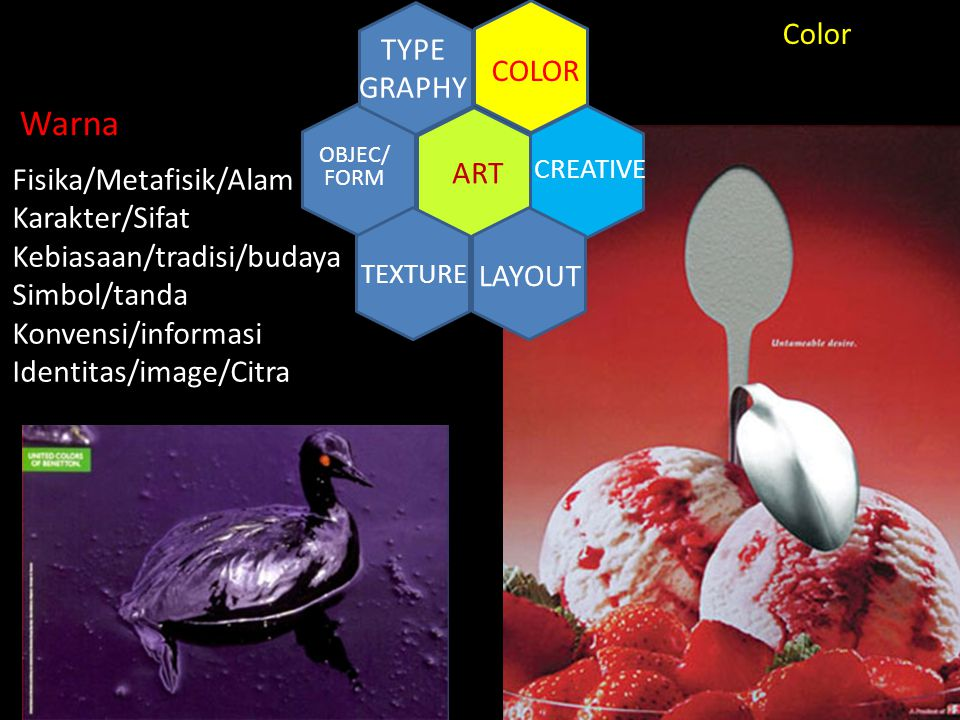 Warna ART COLOR TYPE GRAPHY LAYOUT Color Fisika/Metafisik/Alam
