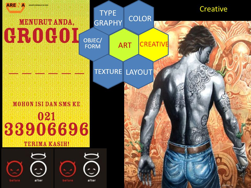 CREATIVE ART COLOR TYPE GRAPHY TEXTURE LAYOUT OBJEC/ FORM Creative