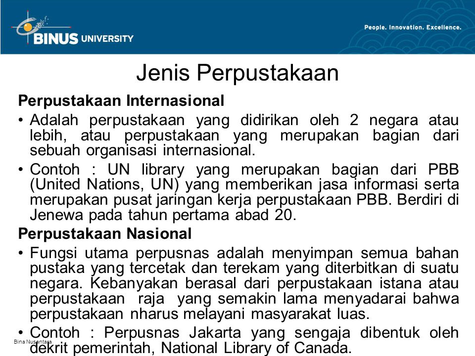 Jenis Perpustakaan Perpustakaan Internasional