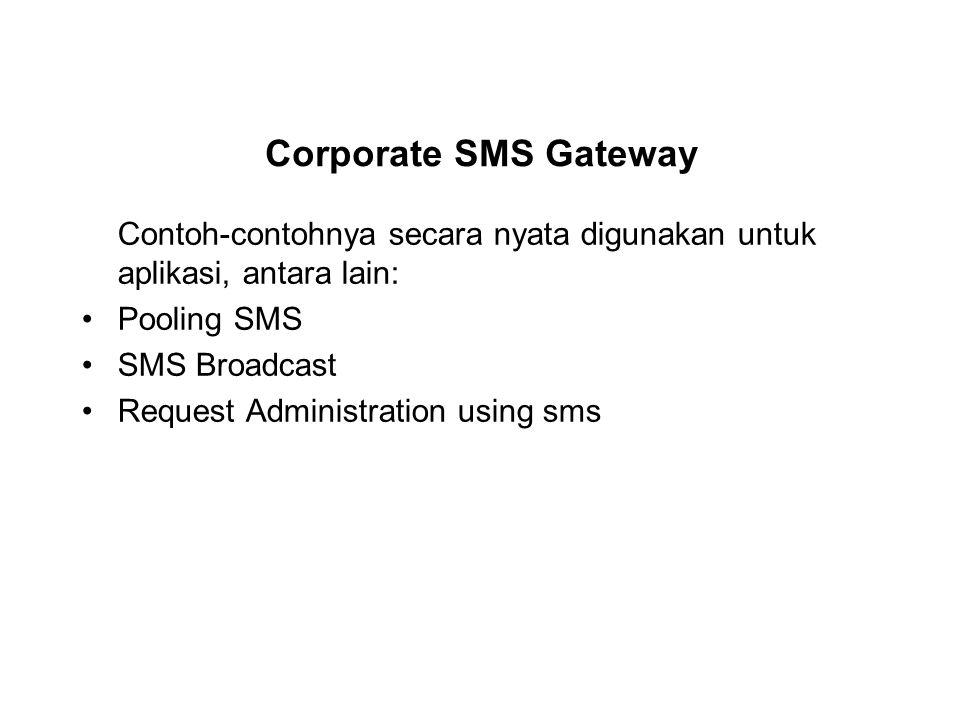 Corporate SMS Gateway Contoh-contohnya secara nyata digunakan untuk aplikasi, antara lain: Pooling SMS.
