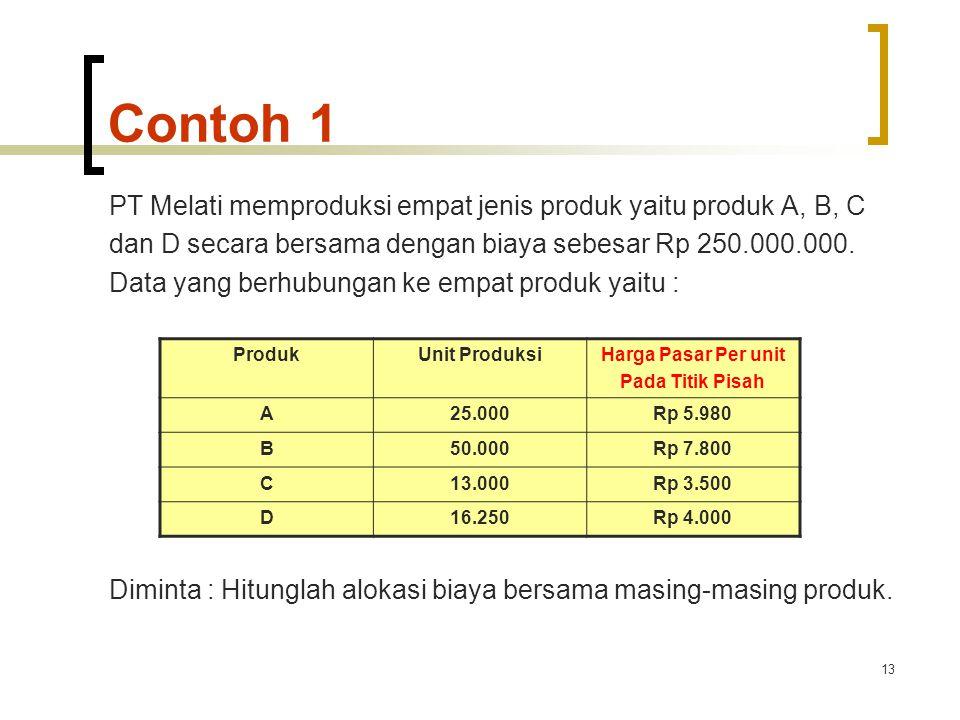Contoh 1 PT Melati memproduksi empat jenis produk yaitu produk A, B, C