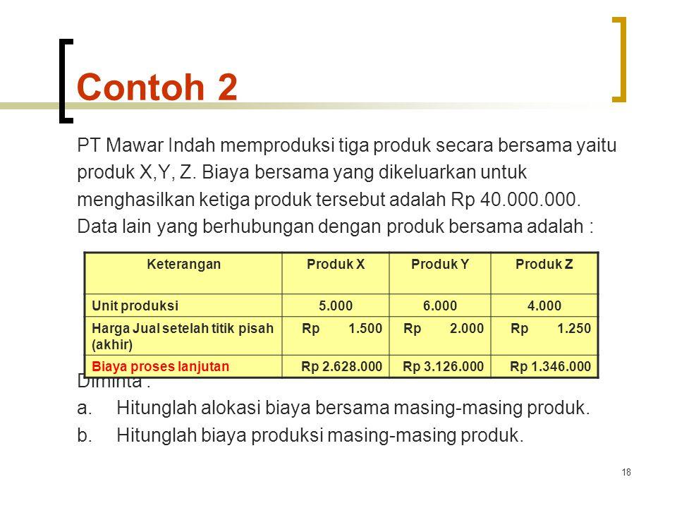 Contoh 2 PT Mawar Indah memproduksi tiga produk secara bersama yaitu
