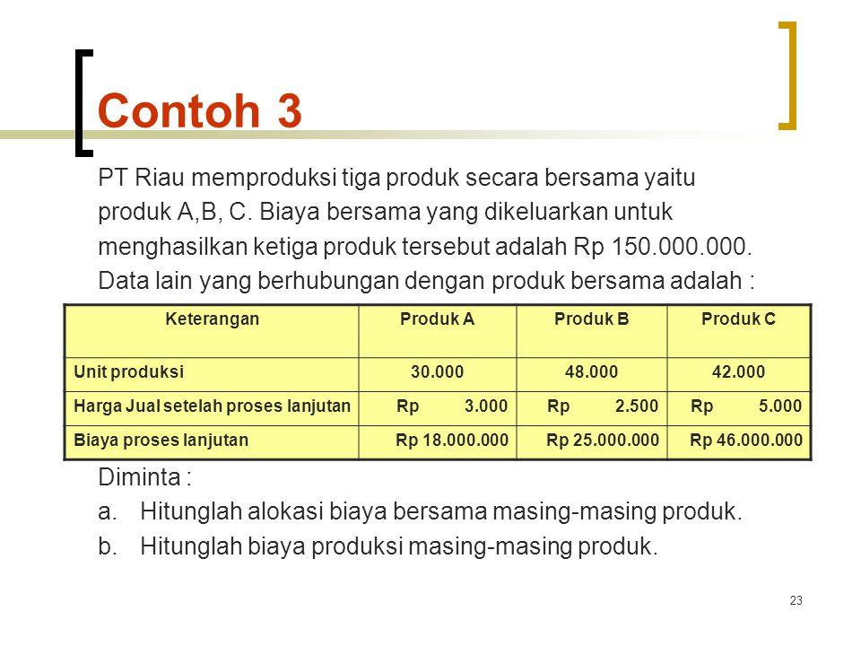 Contoh 3 PT Riau memproduksi tiga produk secara bersama yaitu