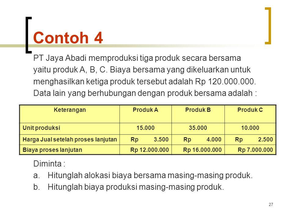 Contoh 4 PT Jaya Abadi memproduksi tiga produk secara bersama