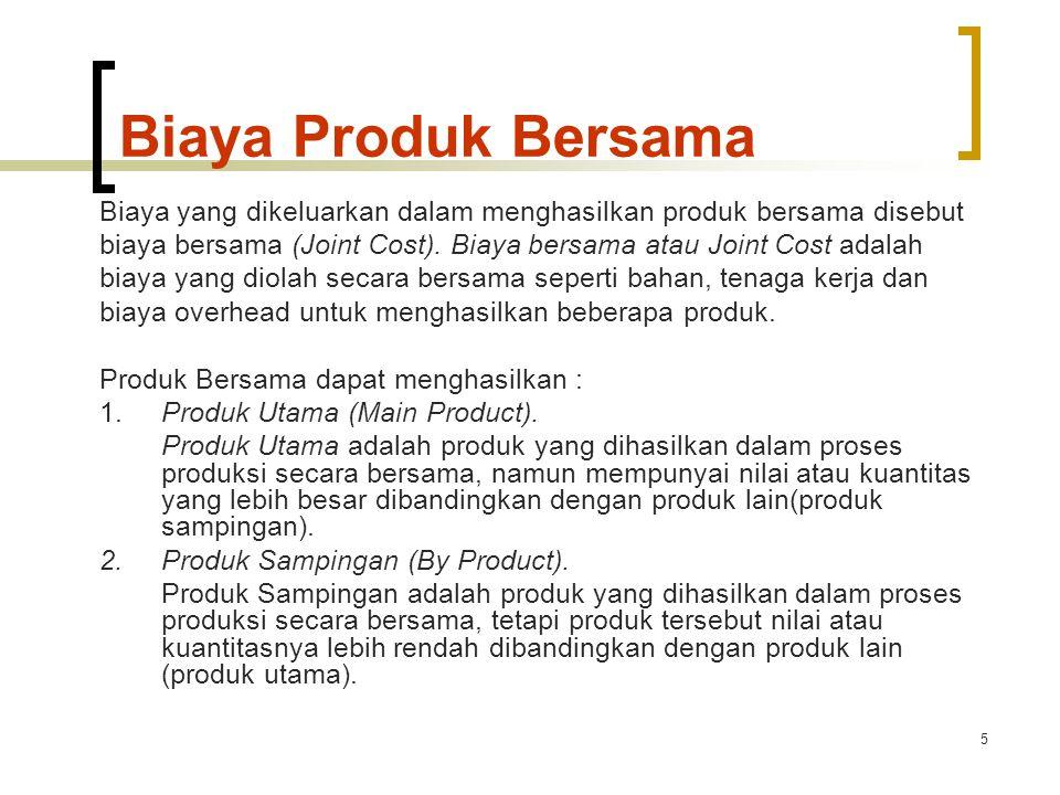 Biaya Produk Bersama Biaya yang dikeluarkan dalam menghasilkan produk bersama disebut.