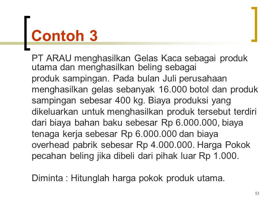 Contoh 3 PT ARAU menghasilkan Gelas Kaca sebagai produk utama dan menghasilkan beling sebagai. produk sampingan. Pada bulan Juli perusahaan.