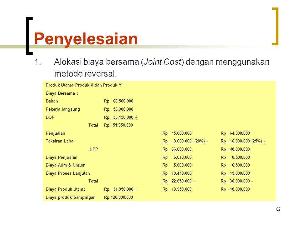 Penyelesaian 1. Alokasi biaya bersama (Joint Cost) dengan menggunakan