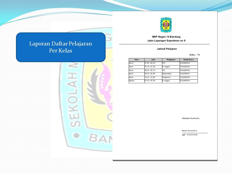 Laporan Daftar Pelajaran