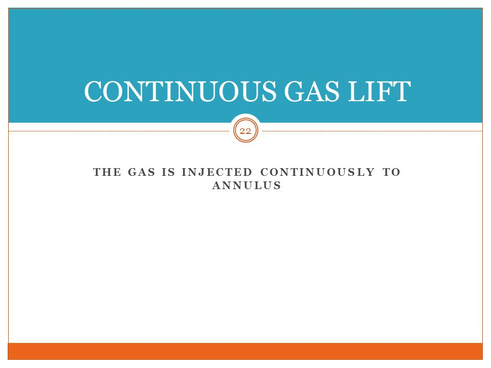 THE GAS IS INJECTED CONTINUOUSLY TO ANNULUS