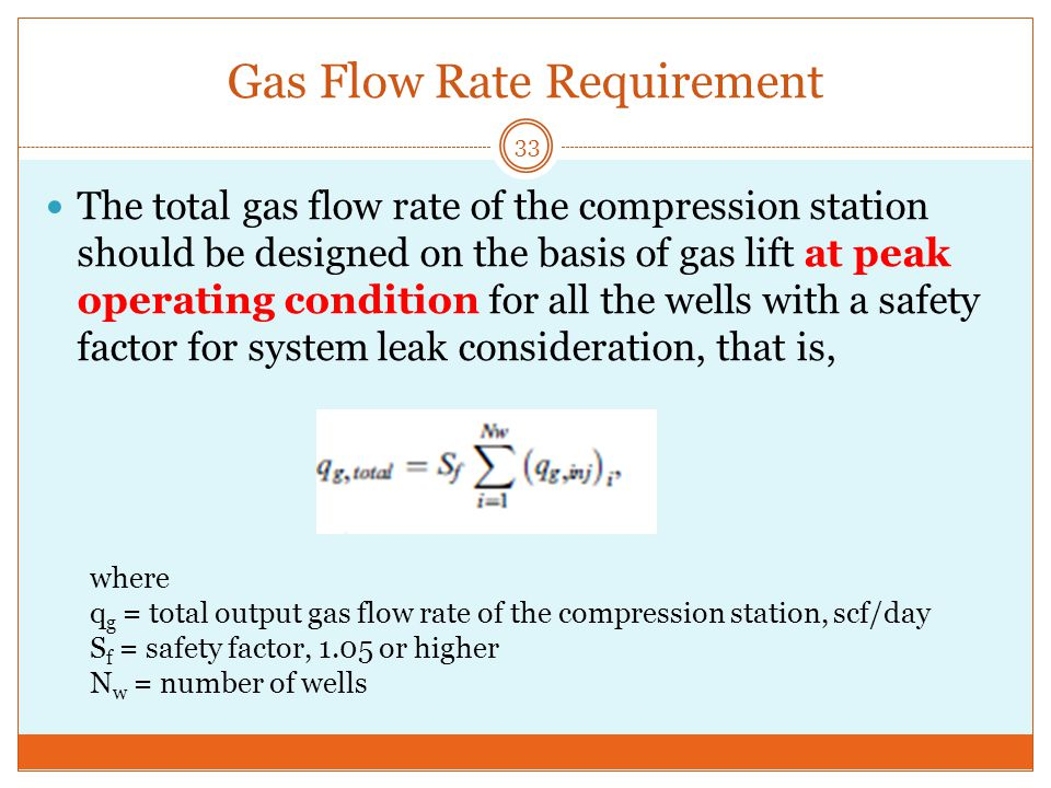 Gas Flow Rate Requirement