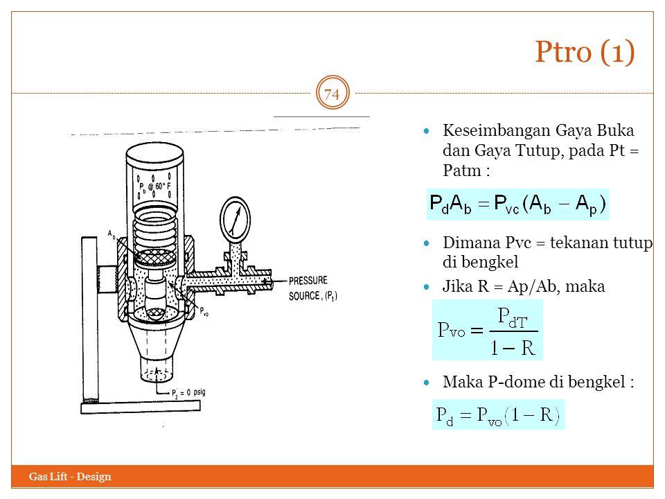 Ptro (1) Keseimbangan Gaya Buka dan Gaya Tutup, pada Pt = Patm :