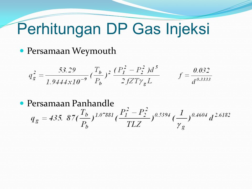 Perhitungan DP Gas Injeksi