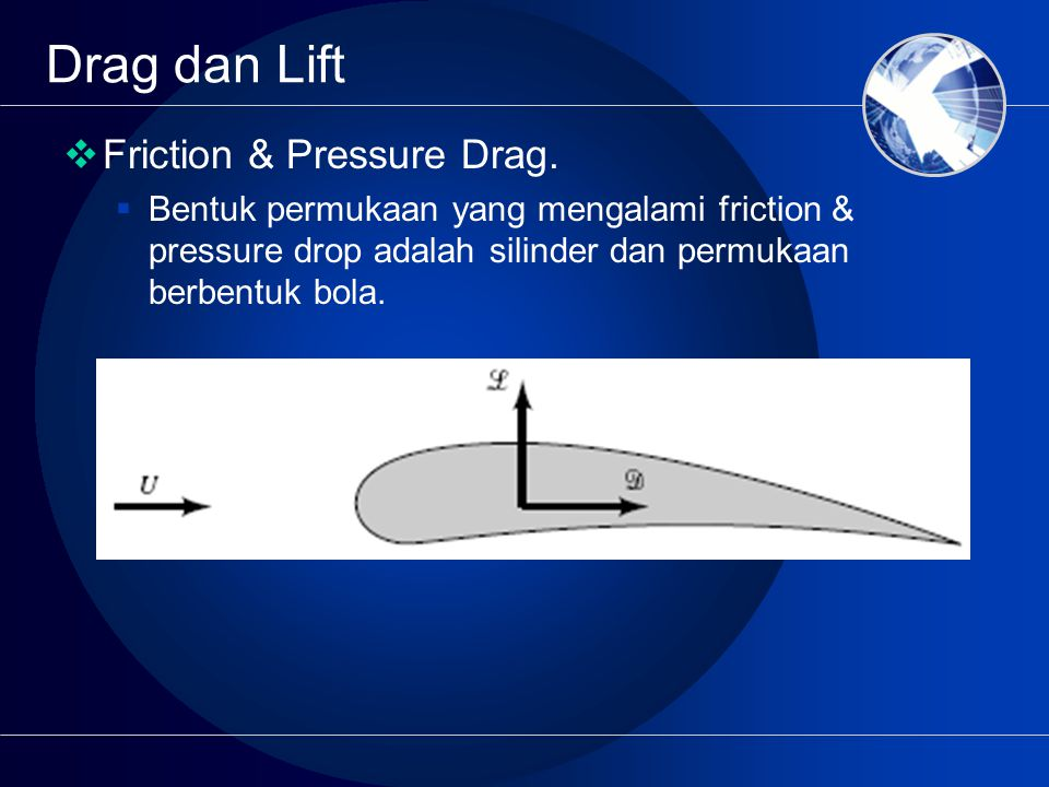 Drag dan Lift Friction & Pressure Drag.
