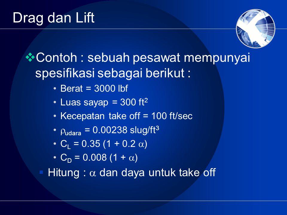Drag dan Lift Contoh : sebuah pesawat mempunyai spesifikasi sebagai berikut : Berat = 3000 lbf. Luas sayap = 300 ft2.