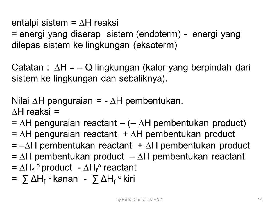 entalpi sistem = ∆H reaksi
