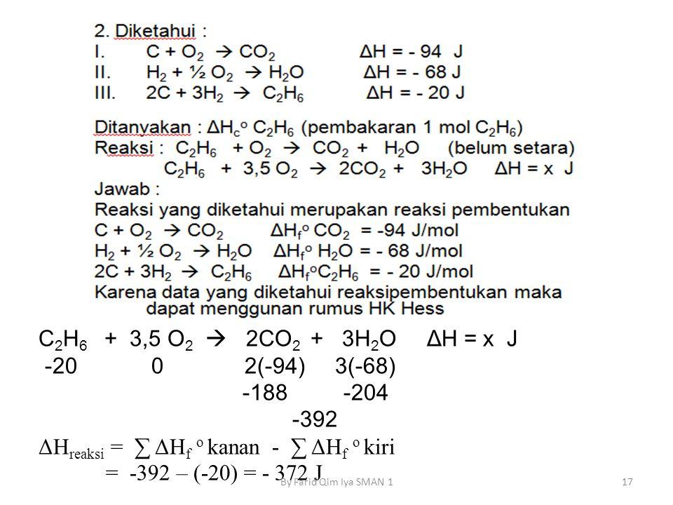 ΔHreaksi = ∑ ΔHf o kanan - ∑ ΔHf o kiri = -392 – (-20) = - 372 J