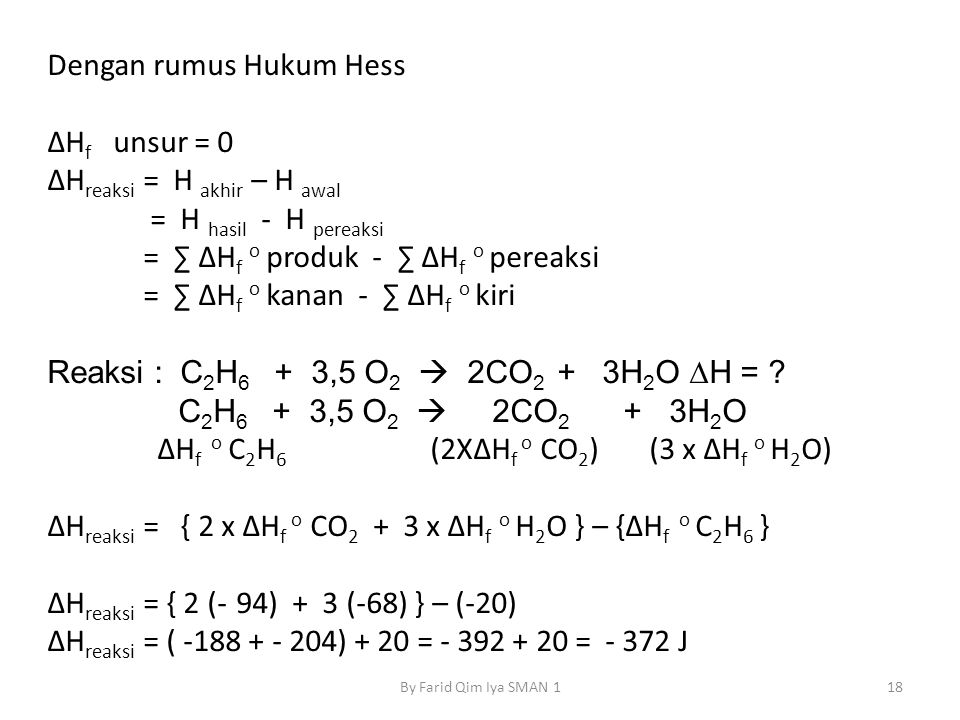 Dengan rumus Hukum Hess ΔHf unsur = 0 ΔHreaksi = H akhir – H awal