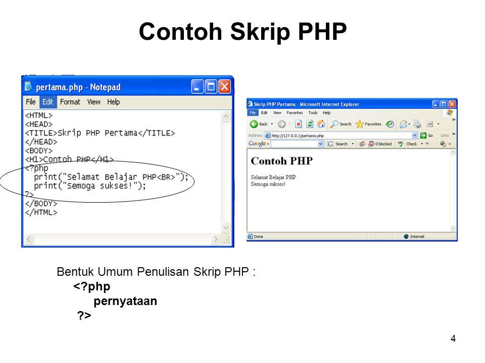 Contoh Skrip PHP Bentuk Umum Penulisan Skrip PHP : < php pernyataan